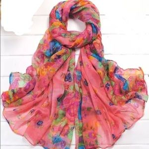 Coral Floral Wrap Shawl Cotton Scarf